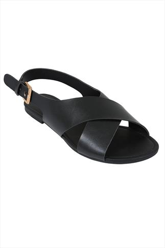 Black Cross Over Flat Sling Back Sandals With Gold Buckle In EEE Fit