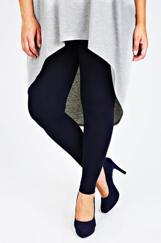 Navy Viscose Elastane Full Length Leggings