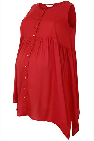 BUMP IT UP MATERNITY Red Button Up Trapeze Top With Crochet Back Panel