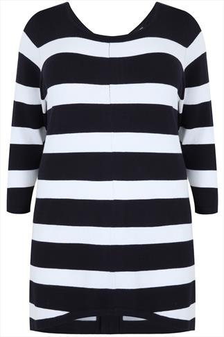 Navy & White Stripe Longline Jumper With Zip Back