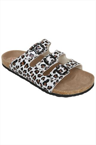 Animal Print Three Strap Cork Effect Sandals In A EEE Fit