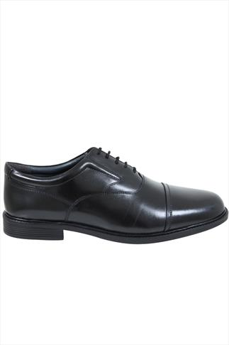 Black LEATHER Lace-Up Cap Oxford Shoes In Wide Fit
