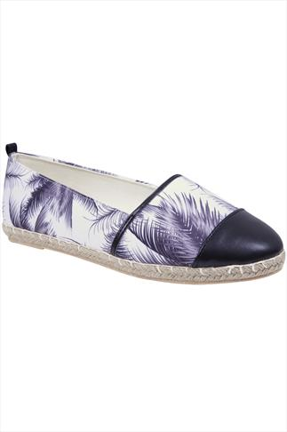 Black And White Palm Tree Print Espadrille Pumps