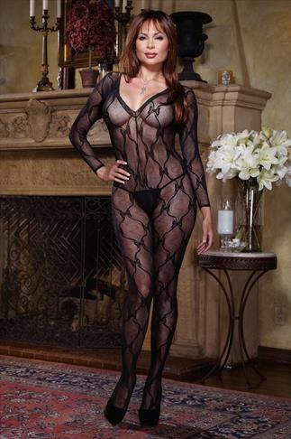 DREAMGIRL Black Lace Long Sleeve Bodystocking 052495