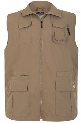 D555 Light Brown Multi Pocket Sleeveless Jacket
