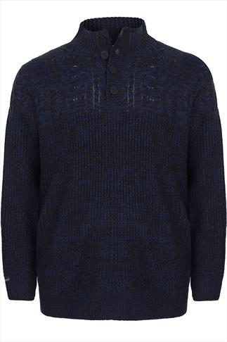 KANGOL Navy & Black Thick Knit Jumper