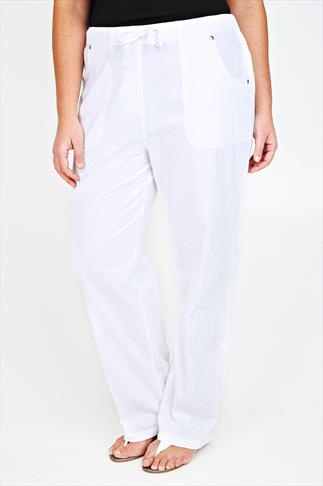 White Full Length Cool Cotton Trousers
