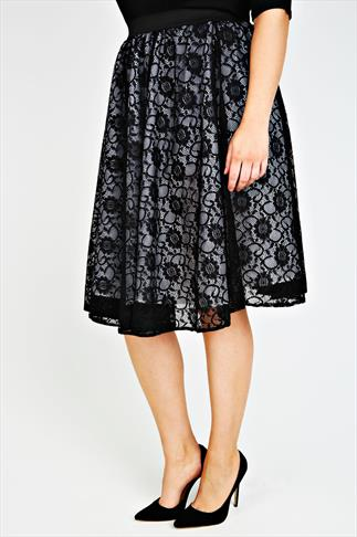 SCARLETT & JO Black Lace Layered Midi Skater Skirt With White Lining
