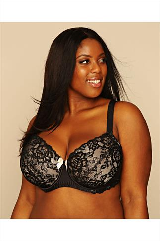 Black & Nude Underwired Bra With Floral Lace Detail