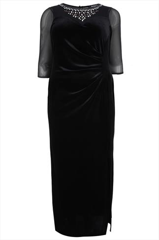 SCARLETT & JO Black Velvet Maxi Dress With Jewell Detail