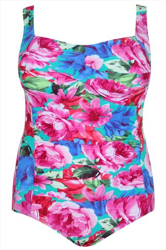 TUMMY CONTROL Pink Multi Floral Print Swimsuit With With Ruched Twist Bust