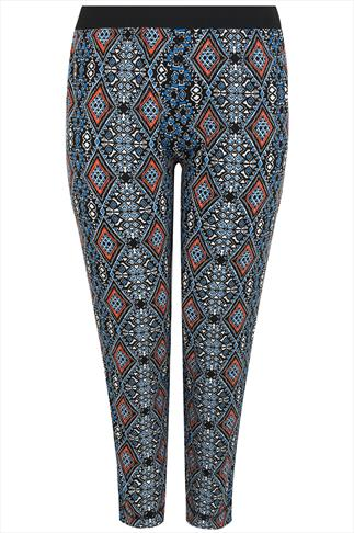 Black, Blue & Orange Aztec Print Jersey Harem Trousers