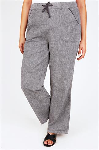 Grey Cross Dyed Cotton Linen Mix Full Length Pull On Trousers