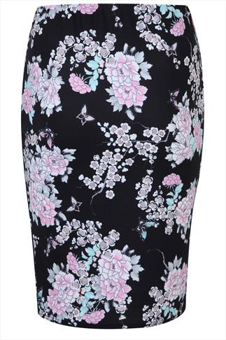 Black & Pastel Oriental Midi Pencil Skirt