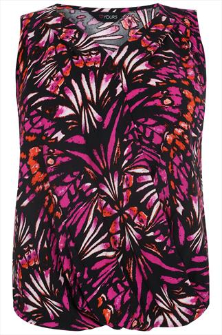 Black, Pink & Orange Butterfly Sleeveless Wrap Front Blouse