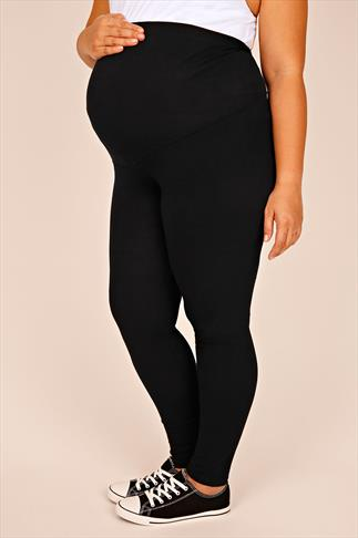 BUMP IT UP MATERNITY Black Cotton Elastane Leggings With Comfort Panel 056320