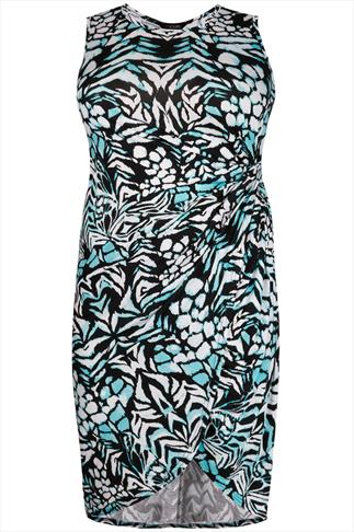 White & Aqua Abstract Print Jersey Dress With Twist Detail