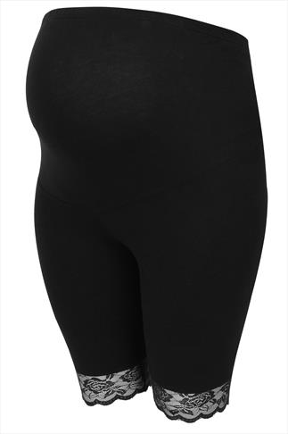 BUMP IT UP MATERNITY Black Cotton Elastane Legging Shorts With Comfort Panel