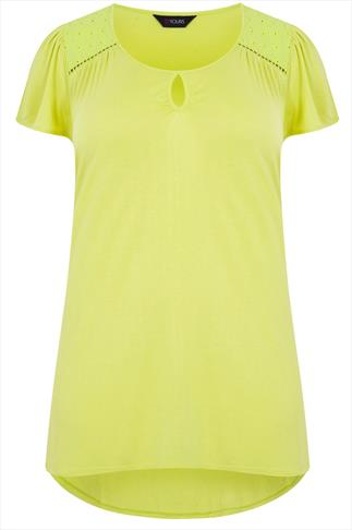 Lime Short Sleeve Top With Keyhole Neck & Crochet Detail