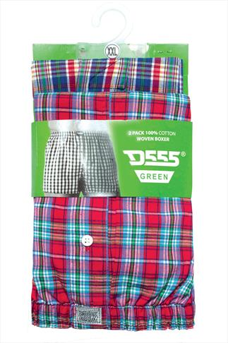 D555 2 PACK Check Boxer Shorts 070393