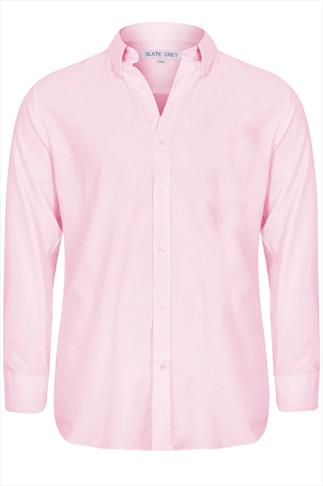 Slate Grey Pale Pink Formal Long Sleeve Shirt-TALL
