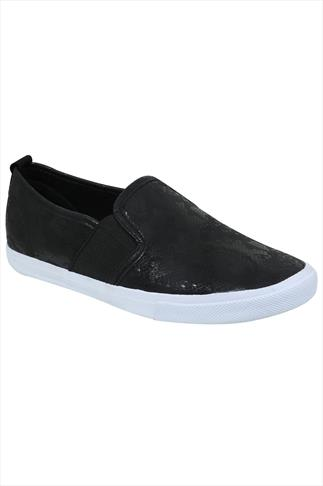 Black COMFORT INSOLE Snake Print Slip On Plimsolls In EEE Fit