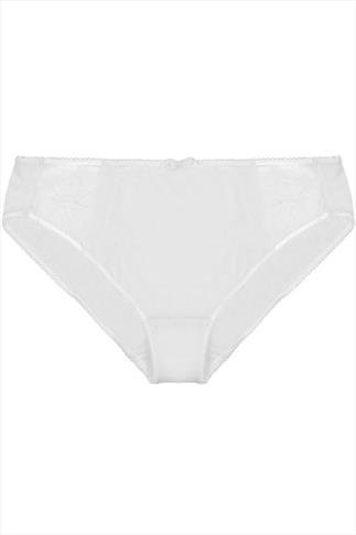 ELOMI White Silky Briefs With Embroidered Detail