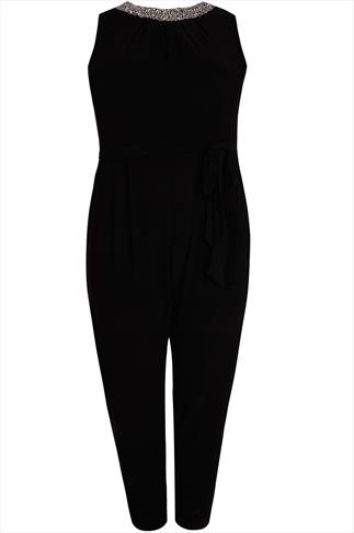 Black Stretch Jersey Jumpsuit With Embellished Neck & Waist Tie