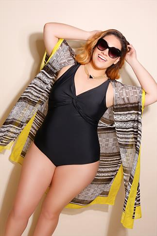 TUMMY CONTROL Black Twist Front Swimsuit