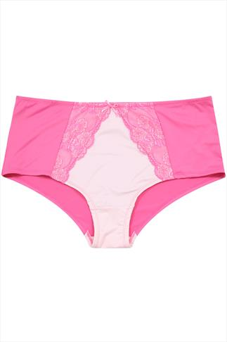 Pink High Rise Brief With Lace And Bow Detail