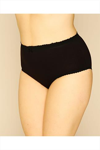 Briefs Knickers 5 PACK Black Cotton Full Brief 052426