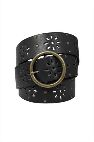 Black Floral Cut Out Belt With Studs 100115