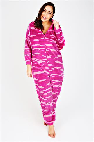 Pink Printed Fleece Onesie With Novelty Cat Hood