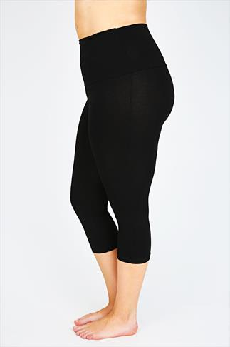 Black TUMMY CONTROL Viscose Elastane Cropped Leggings 038392