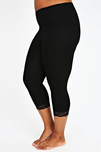 Black TUMMY CONTROL Cropped Leggings With Lace Trim 038390