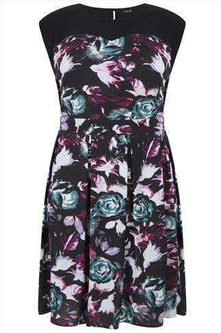 Black & Multi Rose Print Midi Dress With Chiffon Yoke