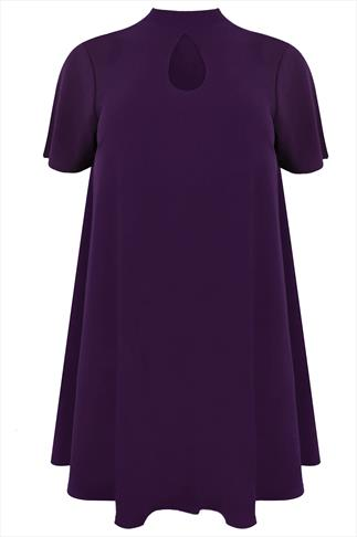 Purple Turtle Neck Sleeved Swing Dress With Keyhole