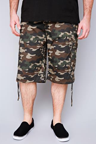 NOIZ Green & Brown Camo Print Cotton Cargo Shorts With Pockets