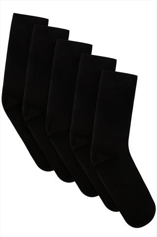 BadRhino Plain Black 5 Pack Socks