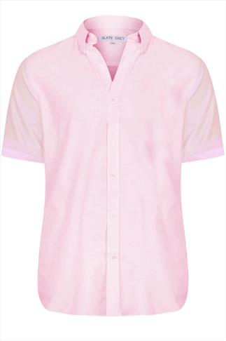 Slate Grey Pale Pink Formal Short Sleeved Shirt - REG