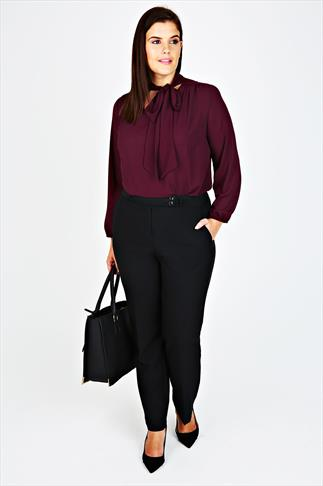 Straight Leg Trousers Black Classic Straight Leg Trousers With Pockets 057394