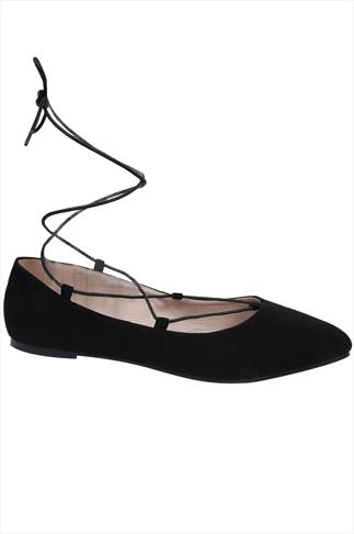 Black Lace Up Ballerina Pump In E Fit