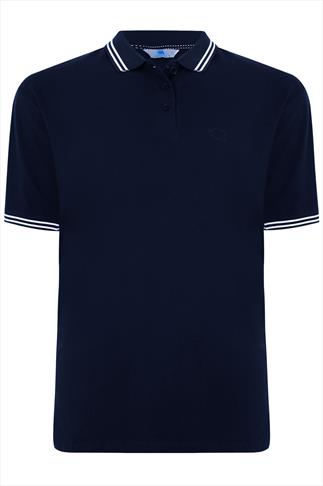 BadRhino Navy Polo Shirt With White Stripe Detail - TALL
