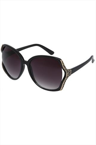 Black Frame Sunglasses With Enamel Detail