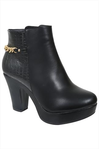 Black Pu Snake Skin Platform Heeled Ankle Boot With Gold Chain In EEE Fit