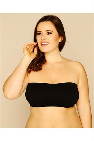 Black Seamless Surefit Bandeau Bra With Soft Padded Full Cups 019897
