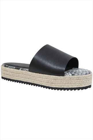 Black Flatform Espadrille Sliders In E Fit 057206