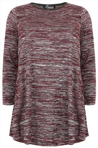 Burgundy & Silver Longline Top With Contrasting PU Neckline