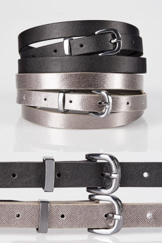 Belts 2 PACK Black & Metallic Skinny Belts 152310