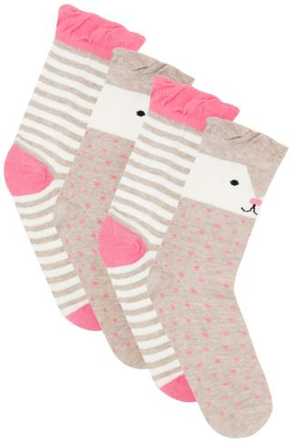 2 PACK Brown, Pink & Multi Cute Bear Socks